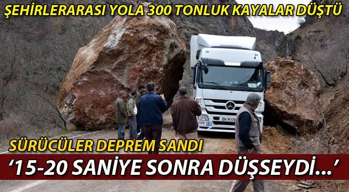 Tunceli - Erzincan Arası Karayoluna Büyük Kaya Düştü!