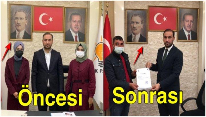 Mansur Yavaş'ın 'Masaya Çıkıp Tepinin İsterseniz' Lafından Sonra AKP İlçe Teşkilatı Atatürk Portresini Aşağı Çekti