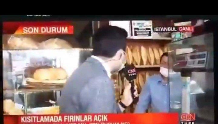 Fırıncının cevabını duyunca mikrofonu çeken CNN Türk muhabiri özür diledi