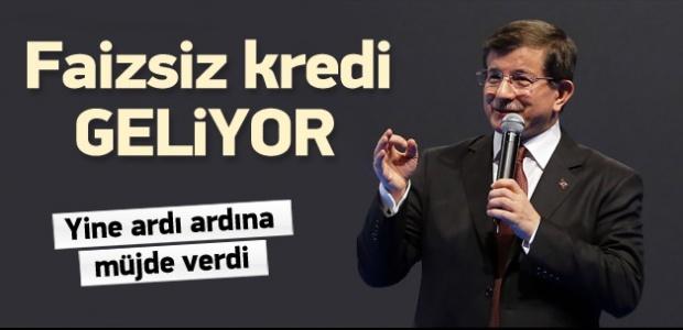 Başbakan Davutoğlu'ndan Faizsiz Kredi Müjdesi