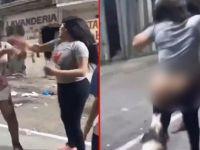 Sokak köpeği, kavga eden kadının taytını aşağı indirdi! O anlar anbean kameraya yansıdı